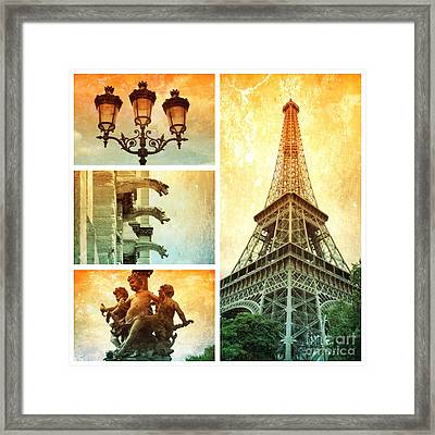 Textures Of Paris Collage Framed Print