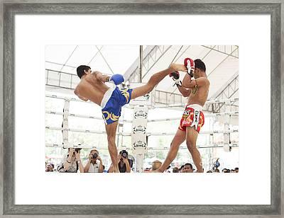 Thai Boxing Match Framed Print by Anek Suwannaphoom