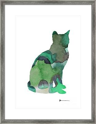 Thai Cat Silhouette Painting Watercolor Art Print Framed Print by Joanna Szmerdt