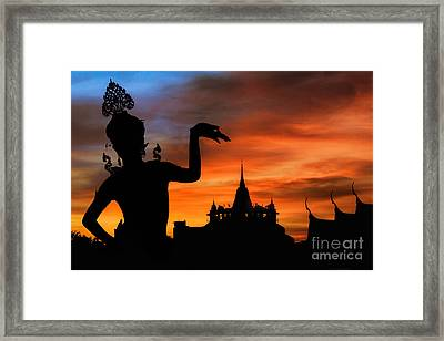 Thai Dance Woman With Background Silhouette Framed Print by Anek Suwannaphoom