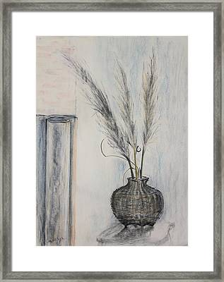 Thai Fishing Basket With Pampas Grass Plumes Framed Print