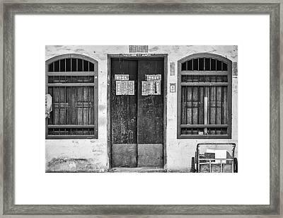 Thai House In Black And White Framed Print by Georgia Fowler