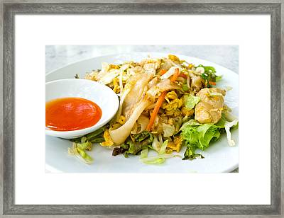 Thai Style Noodles With Vegetables And Chicken  Framed Print by Tosporn Preede