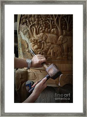 Thai Woodworker Framed Print by Inge Johnsson