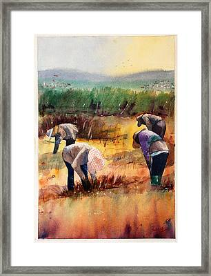 Thai Workers - Prayer Framed Print