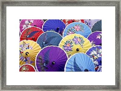Thailand. Chiang Mai Region. Umbrellas Framed Print by Anonymous