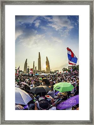 Thailand's Protest At Democracy Monument Against The Government  Framed Print by Anek Suwannaphoom