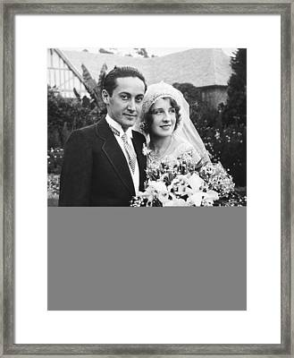 Thalberg And Shearer Wedding Framed Print by Underwood Archives