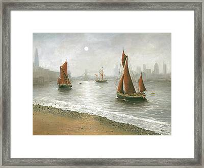 Thames Barges By Tower Bridge London Framed Print by Eric Bellis