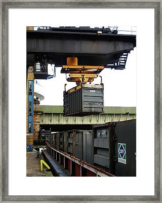 Thames Container Crane Framed Print by Cordelia Molloy