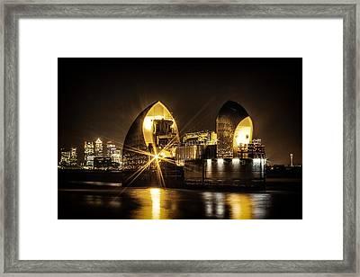 Thames Flood Barrier Framed Print by Ian Hufton