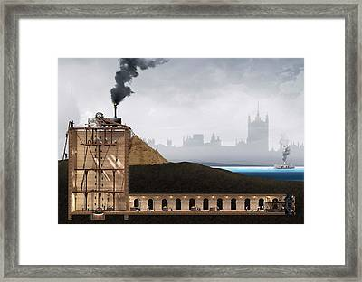Thames Tunnel Construction Framed Print by Claus Lunau/science Photo Library