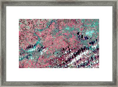 Thames Valley Flooding Framed Print by Nasa/gsfc/meti/ersdac/jaros