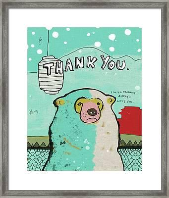 Thank You Bear Framed Print by Lisa Barbero