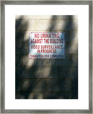 Thank You For Complying Framed Print by Lon Casler Bixby
