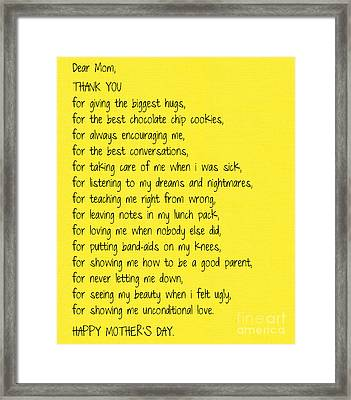 Thank You Framed Print by Sabine Jacobs