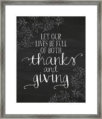 Thanks And Giving Chalkboard Framed Print by Amy Cummings