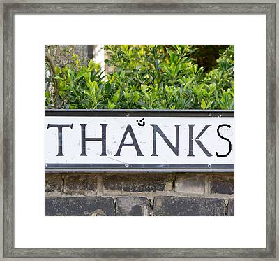 Thanks Framed Print by Tom Gowanlock