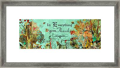Thanksgiving Autumn Themed Inspirational Plaque Framed Print by Janelle Nichol