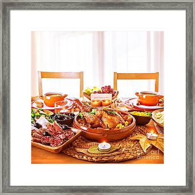 Thanksgiving Day Dinner Framed Print by Anna Om