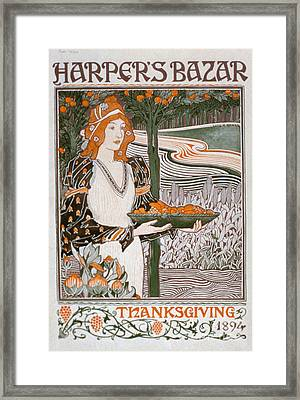 Thanksgiving Edition Of Harpers Bazaar Framed Print by American School