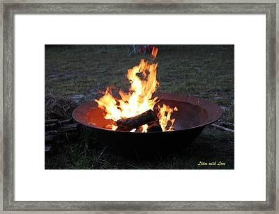 Thanksgiving Fire Framed Print by Lorna Maza