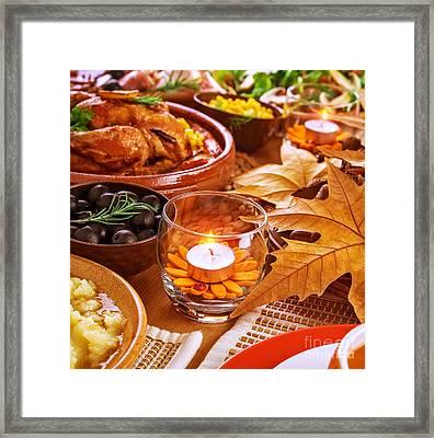 Thanksgiving Table Decoration Framed Print