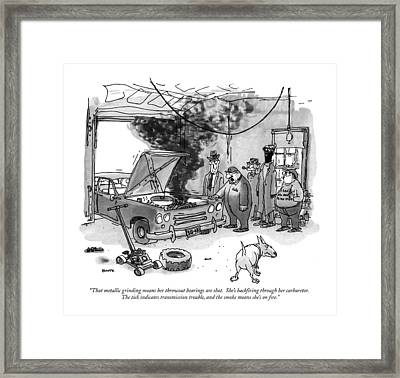 That Metallic Grinding Means Her Throwout Framed Print by George Booth