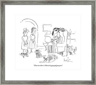 That One There Is Marvin's Personal Pussycat Framed Print by Arnie Levin