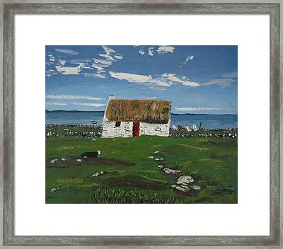 Thatch Cottage Ballyconneelly Connemara Ireland Framed Print