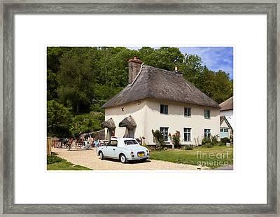 Thatched Cottage And Vintage Car Milton Abbas Dorset England Uk Framed Print