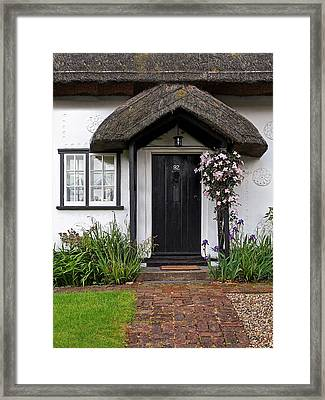Thatched Cottage Welcome Framed Print by Gill Billington