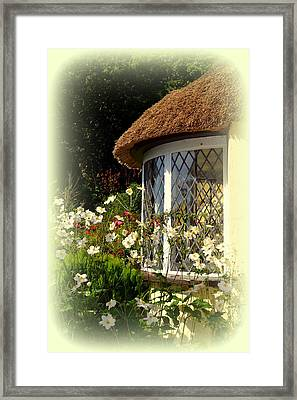 Thatched Cottage Window Framed Print by Carla Parris