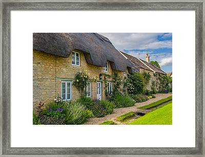 Thatched Cottages Minster Lovell Oxfordshire Framed Print by David Ross