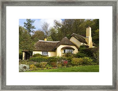 Thatched Roof Cottage In Selworthy  Framed Print