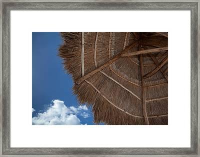 Thatched Umbrella Framed Print