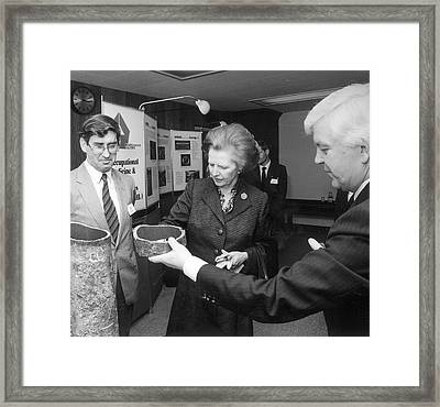 Thatcher At Health And Safety Site Framed Print by Crown Copyright/health & Safety Laboratory Science Photo Library