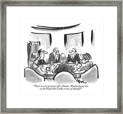 That's A Very Generous Offer Framed Print by Lee Lorenz
