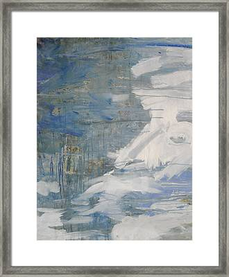 Framed Print featuring the painting Thaw Water Ice Abstraction by John Fish