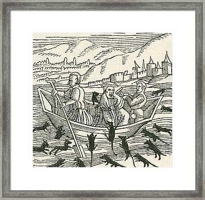 The 10th Century Folk Tale Of Hatto, Who Was The Archbishop Of Mainz, And What Happened Framed Print by English School