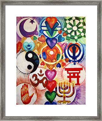 The 12 World Religions Framed Print by Sister Rebecca Shinas
