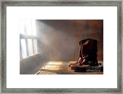 The Abandoned Boots  Framed Print by Olivier Le Queinec