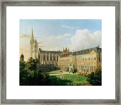 The Abbey Church Of Saint-denis And The School Of The Legion Of Honour In 1840 Oil On Canvas Framed Print by Aline Clement