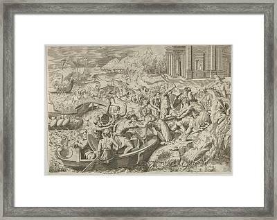 The Abduction Of Helen Battle Scene Framed Print by Marco Dente