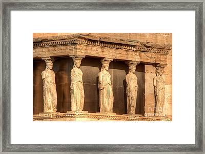 The Acropolis Caryatids Framed Print by Deborah Smolinske