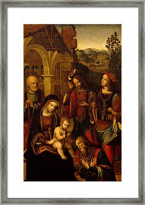 The Adoration Of The Kings Framed Print by Neapolitan School
