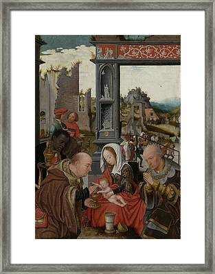 The Adoration Of The Magi, Jan Jansz Mostaert Framed Print