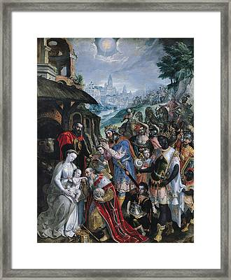The Adoration Of The Magi  Framed Print by Maarten de Vos