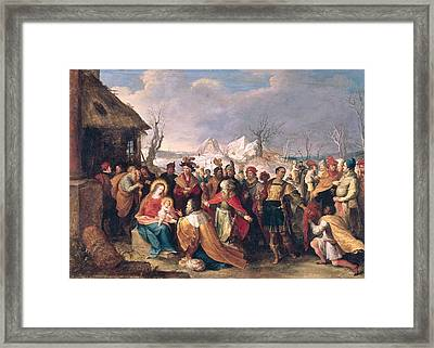 The Adoration Of The Magi Oil On Panel Framed Print by Frans II the Younger Francken