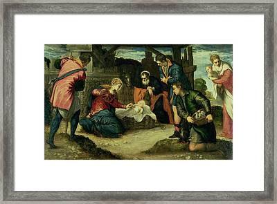 The Adoration Of The Shepherds, 1540s Framed Print by Jacopo Robusti Tintoretto